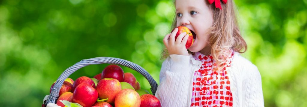 girl eating apples out of a basket of fruit, a tooth healthy snack in wilson, nc