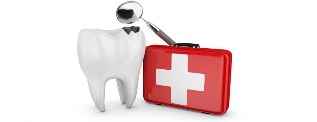 A tooth, dentist tool, and first aid kit, denoting a dental emergency.